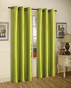 Gorgeous Home 1 Panel Solid Lime Green SEMI Sheer Window Faux Silk Antique Bronze Grommets Curtain Drapes MIRA (84