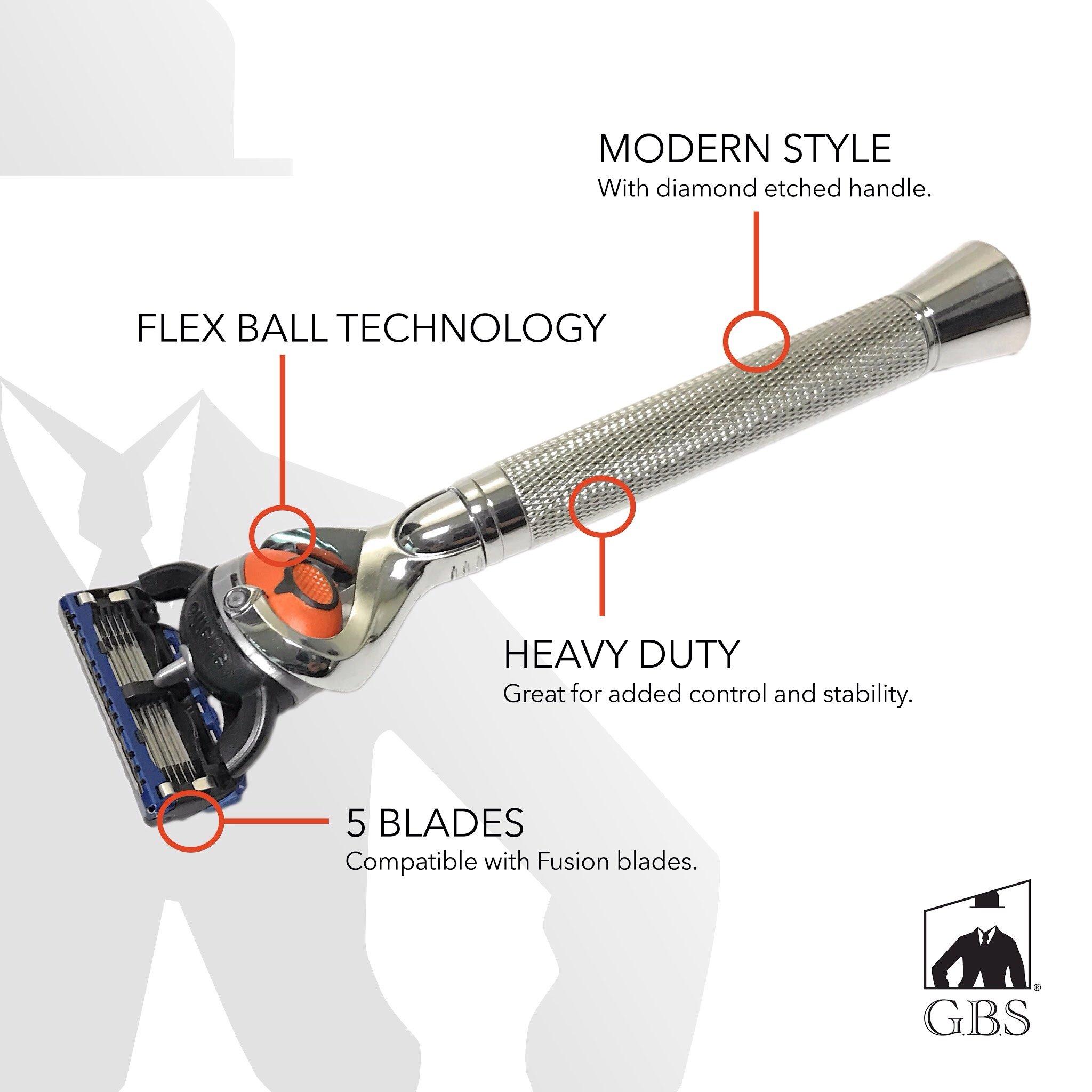 5 Blade Razor with Pivot Ball technology-All Chrome Diamond Pattern Long Handle Shaving Razor
