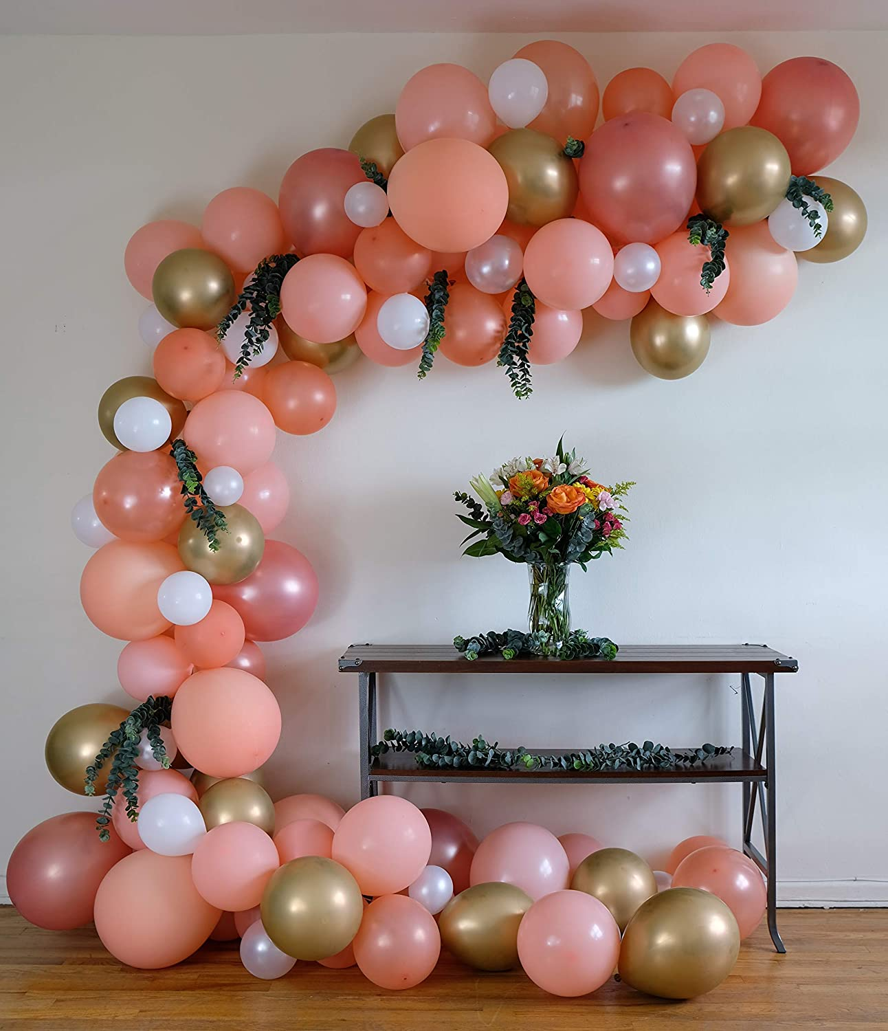 Balloon Garland Arch Kit, 110 Pieces, Latex Balloons, Party Supplies Decorations, 16 Feet Long Decorating Strip, Peach Blush, Rose Gold, Chrome Gold, White, Pearl Balloons SM-XL