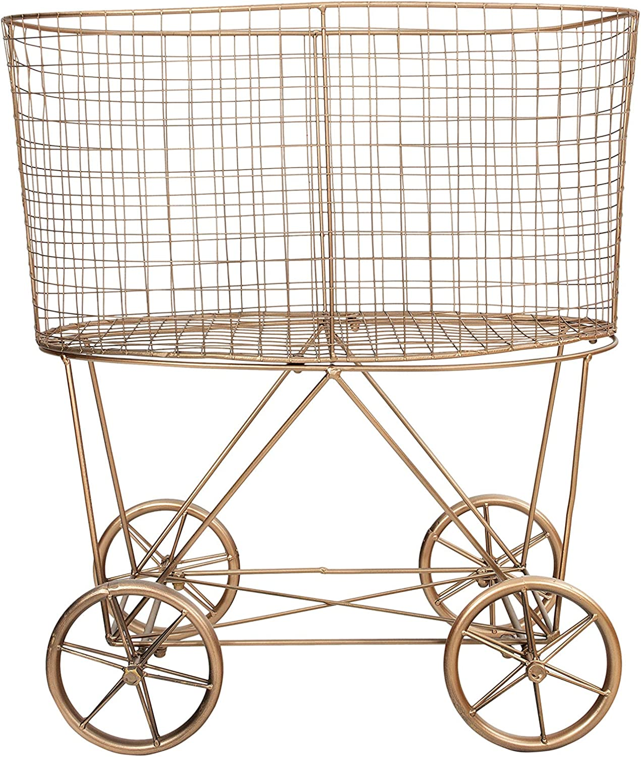 Creative Co-op Vintage Metal Laundry Basket with Wheels, Copper
