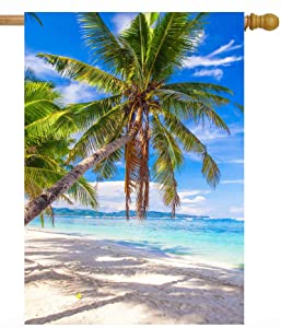 "ShineSnow Tropical Beach Ocean Sea Palm Tree Summer Blue Landscape House Flag 28"" x 40"" Double Sided Polyester Welcome Yard Garden Flag Banners for Patio Lawn Home Outdoor Decor"