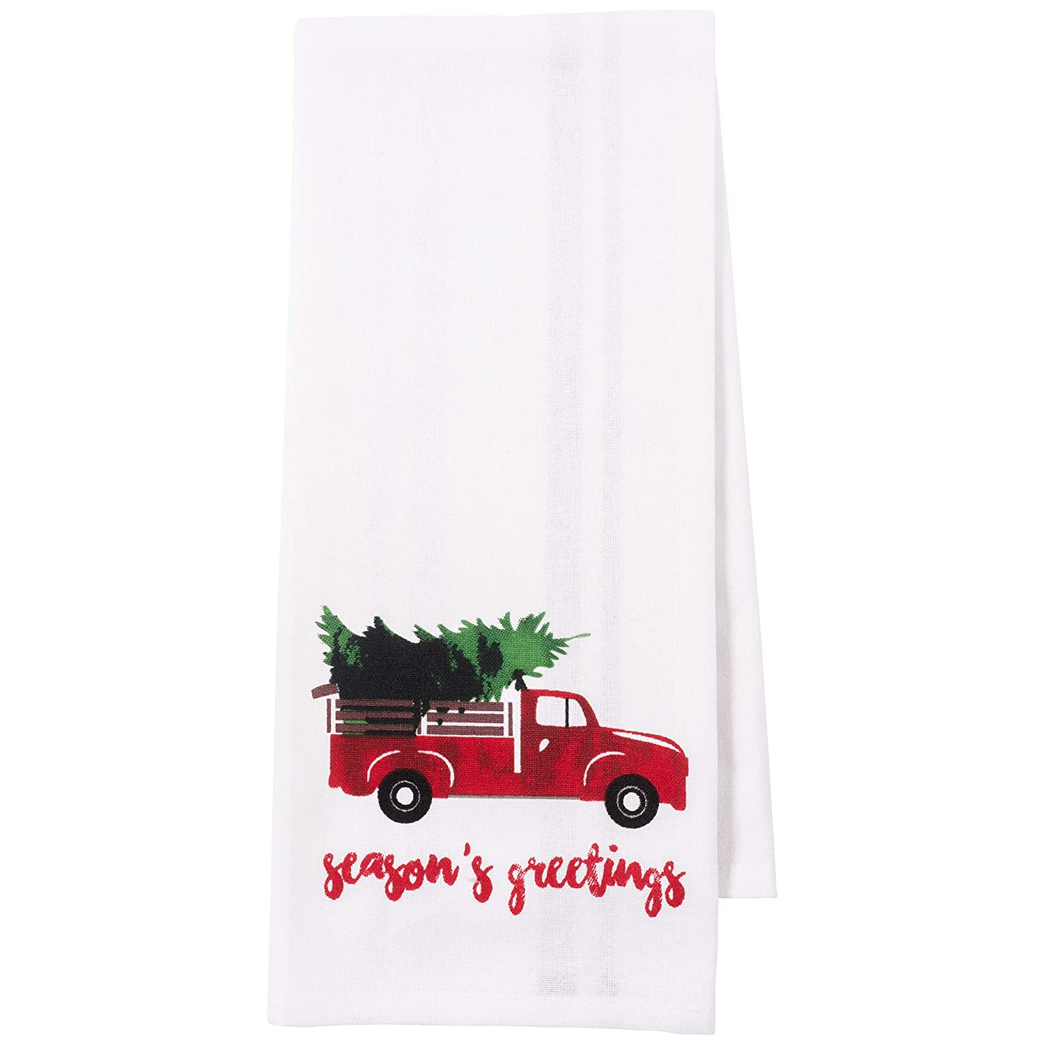 Vintage Red Christmas Truck 18 x 28-inch 100-Percent Cotton KAF Home Pantry Kitchen Holiday Dish Towel Set of 4