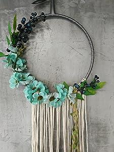"RISEON Handmade 32"" Long Large Tassel Dream Catcher Wall Hanging Decoration Macrame Fringe Floral Flower Wreath Dreamcatcher Boho Home Decor Ornament Gift (Blue)"