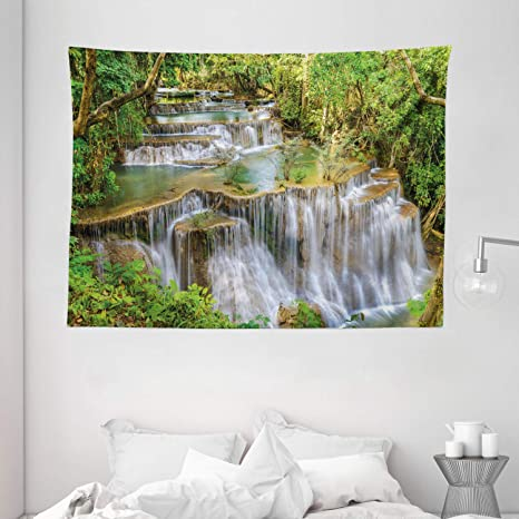 Amazon Com Ambesonne Waterfall Tapestry Majestic Mother Natures Gift Waterfall Between Green Exotic Trees In Thailand Asia Wide Wall Hanging For Bedroom Living Room Dorm 80 X 60 Green Home Kitchen