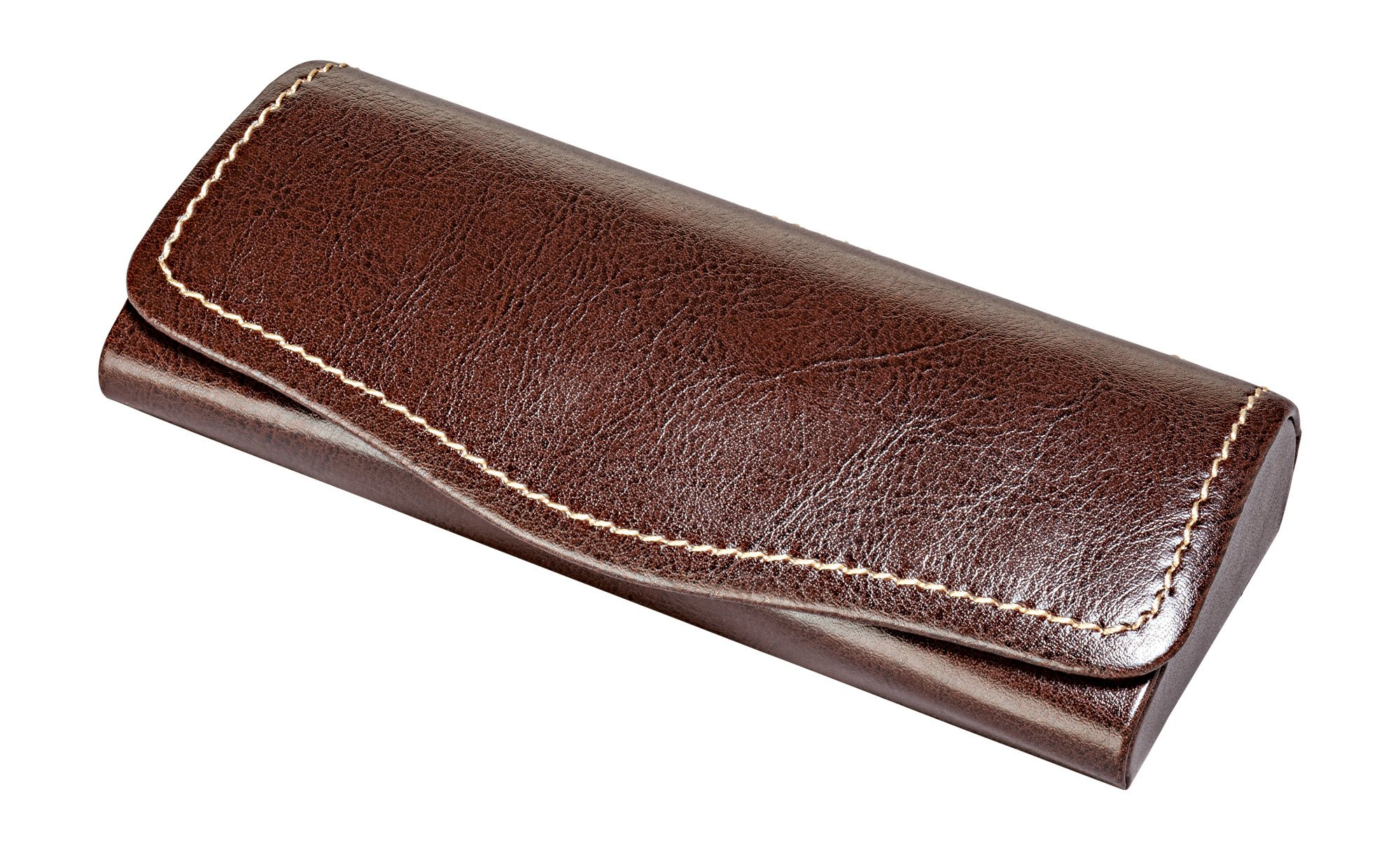 Glasses Case For Men & Women, Hard Eyeglass Case W/Magnetic Closure In Faux Leather, Brown