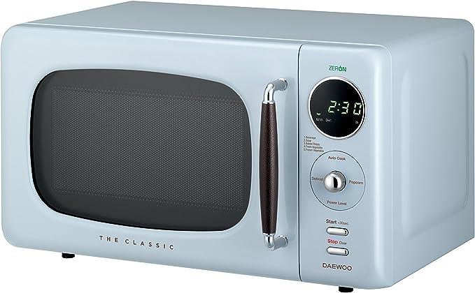 Daewoo KOR07R3ZEL 0.7 cu. ft 700W Retro Countertop Microwave Oven, City Blue