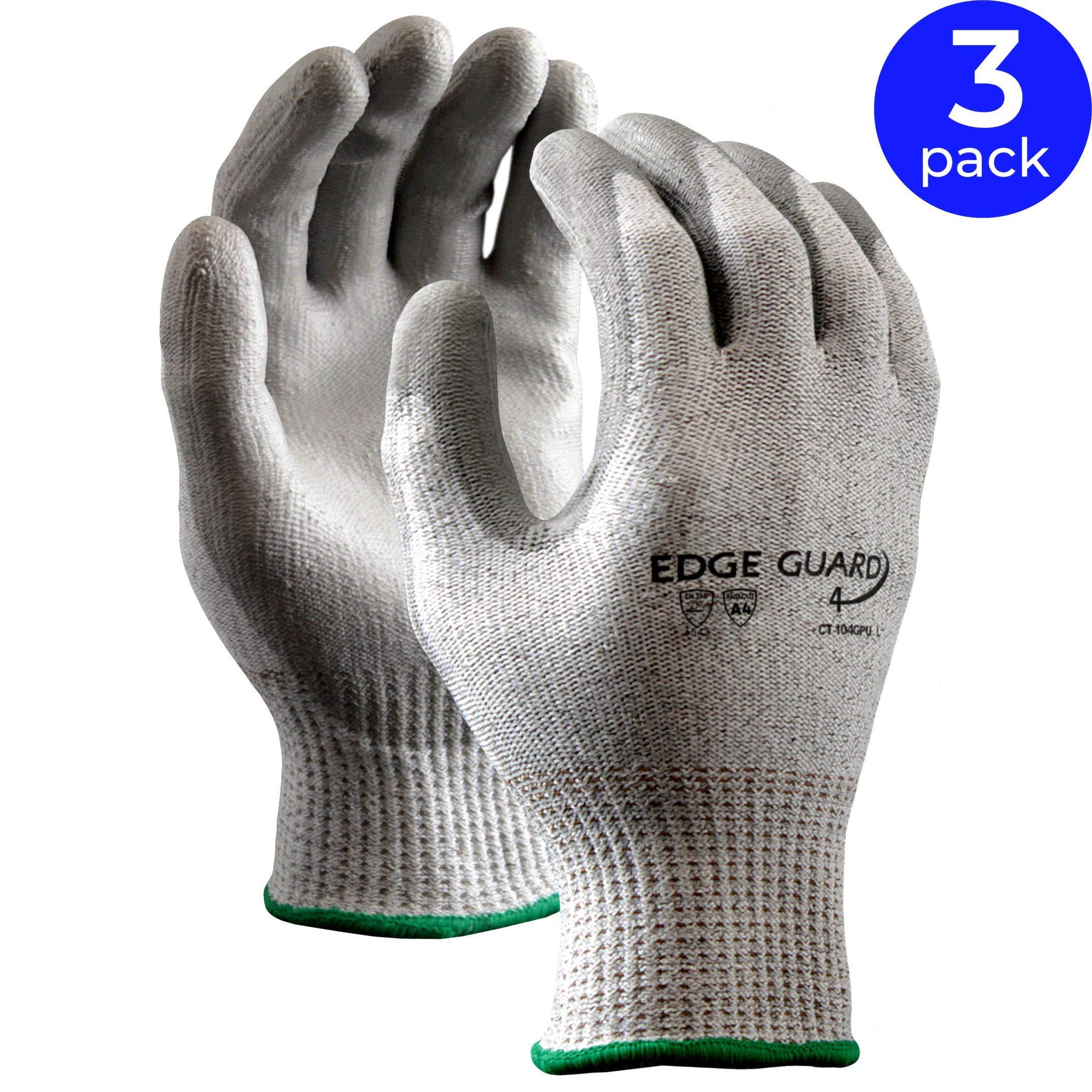 Stauffer EdgeGuard4TM Cut Resistant Glove with PU Coating, Cut Level A4 | Gray/Salt and Pepper Color, Knit Wrist Cuff - 2XL (Pack of 3)