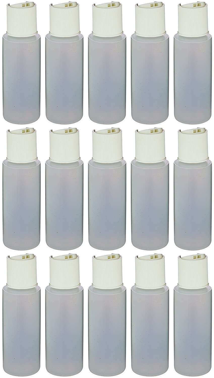 Earth s Essentials Pack Of Fifteen Travel Size Refillable 2.5 Oz. Squeeze Bottles With One Hand Press Cap Dispenser Tops. Great for Dispensing Lotions, Shampoos and Massage Oils.