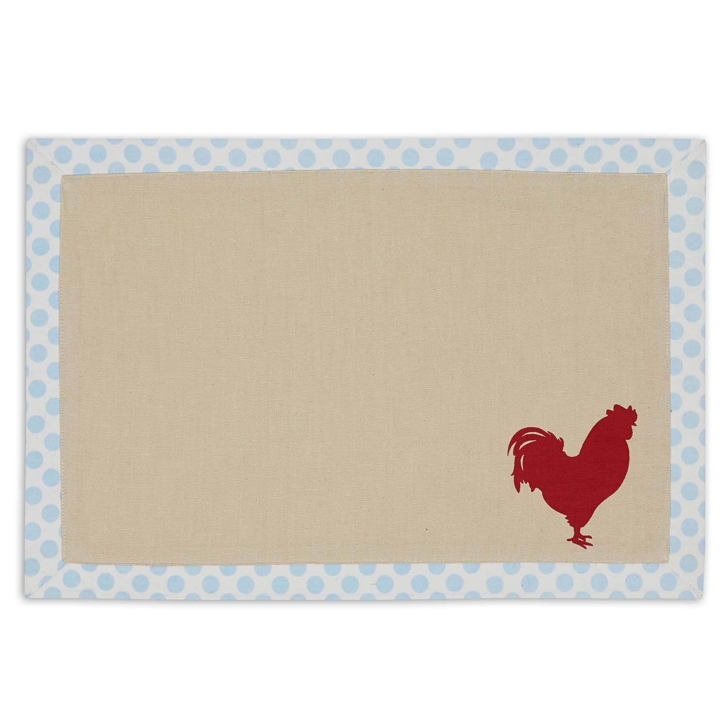 DII 100% Cotton, Printed Everyday Basic Placemats, Fused and Lined 13x19'' Set of 4 - Red Rooster