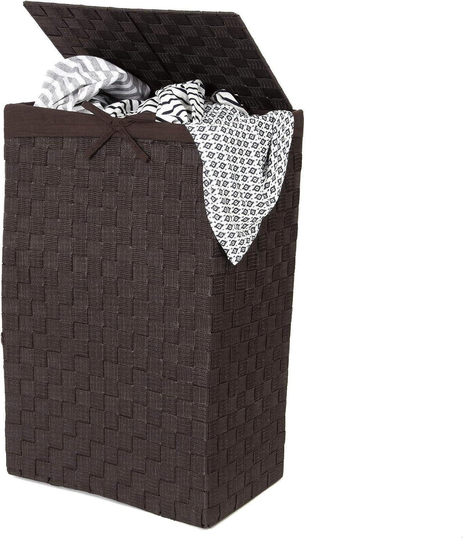 Chocolate Compactor con Espacio de Almacenamiento 30 cm cintur/ón Tex ray/ón Cesta para la Ropa Sucia con Tapa y Lino en el Interior