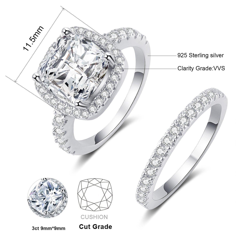 Panghoo 925 Sterling Silver Cz Diamond Wedding Ring Set for Women (5) by Panghoo (Image #2)