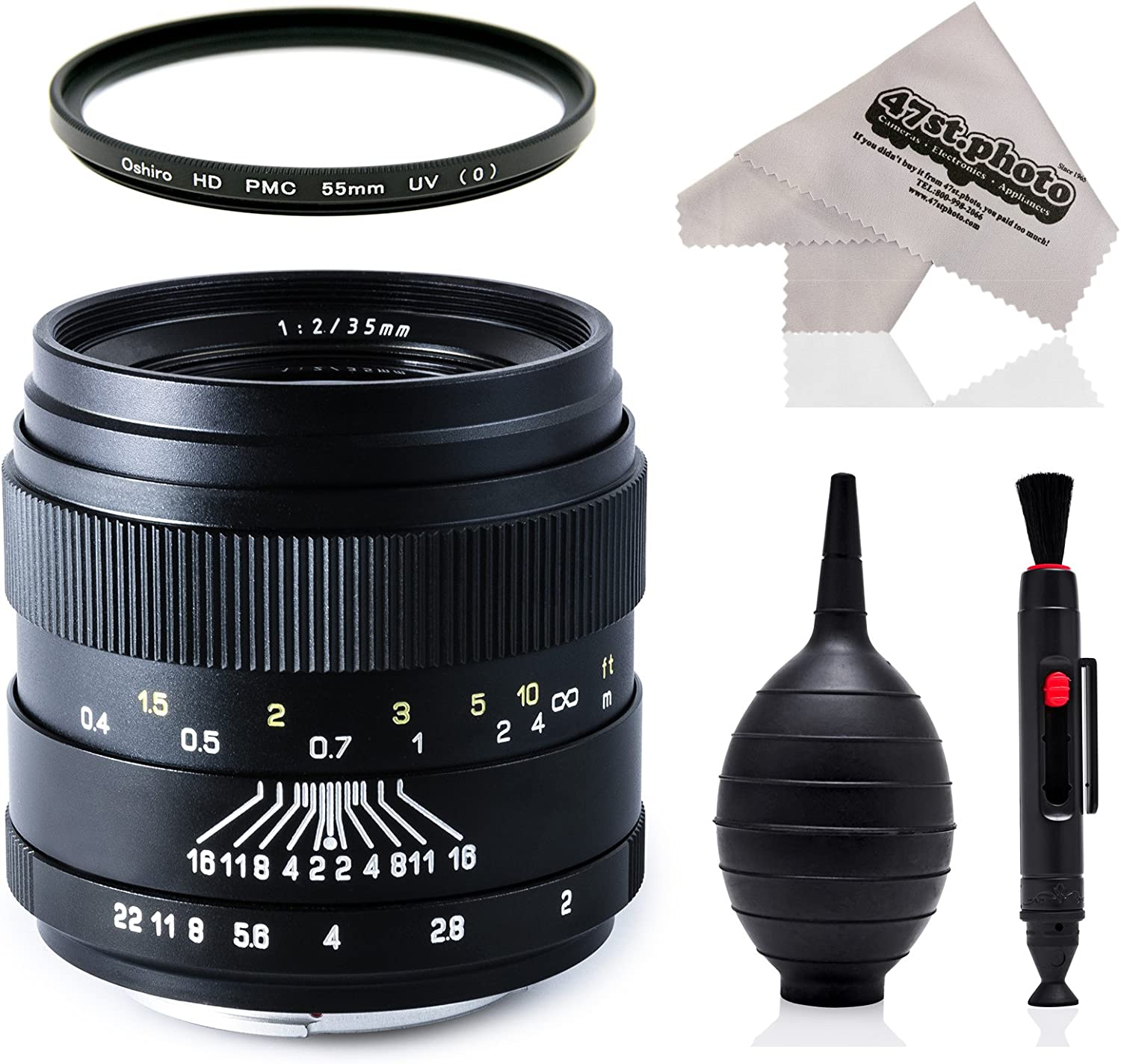 T6i 1Ds 50D 7D 6D T3i 60Da 60D T6 T5i Rebel T6s 70D T3 and SL1 Digital SLR Cameras 5Ds 5D T5 Oshiro 35mm f//2 LD UNC AL Wide Angle Full Frame Prime Lens with UV for Canon EOS 80D T4i