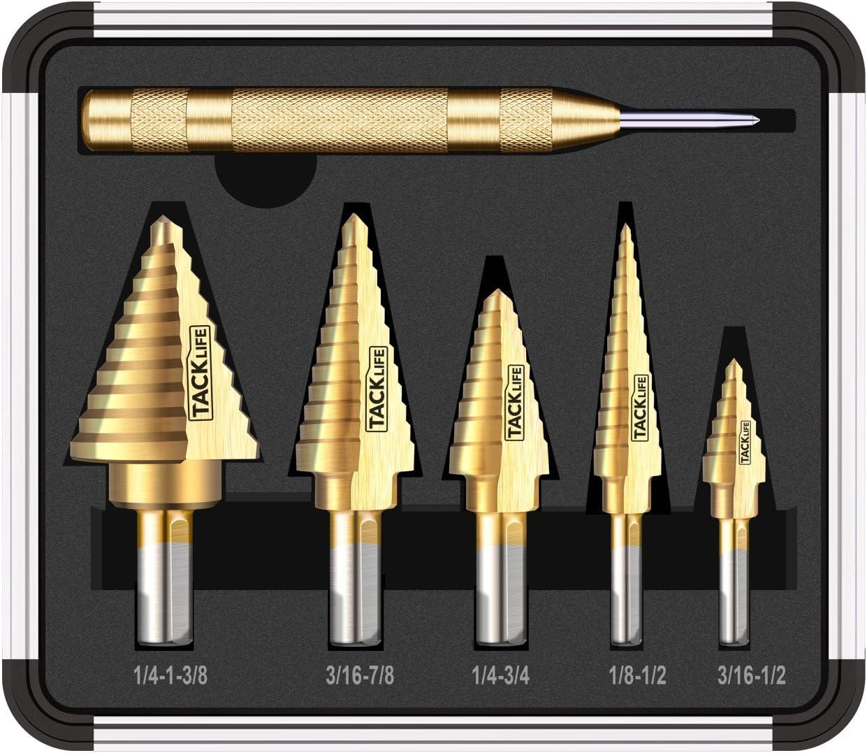 3. Tacklife PDH06 Classic Titanium Step Drill Bit Set