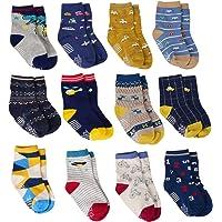12 Paires de Coton Antidérapant de Chaussettes d'ABS de Garçons de Bébé Avec des Poignées, Chaussettes Anti Dérapantes d'Enfant en Bas âge