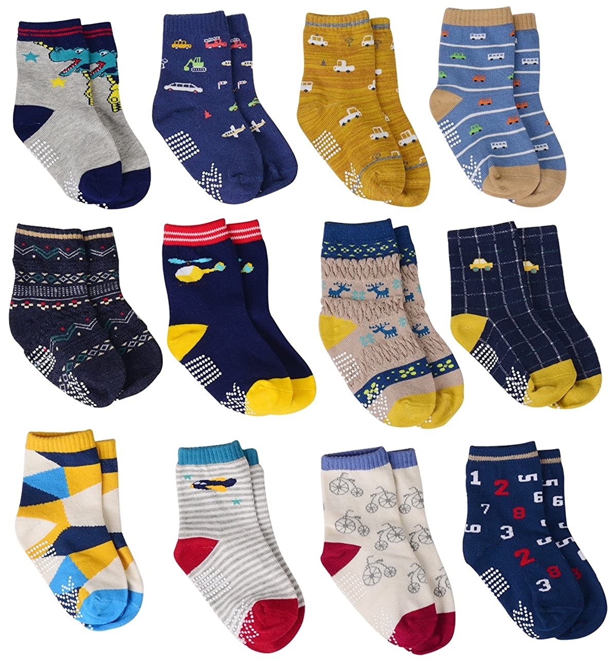 12 Pairs Baby Boy Socks Non Skid with Grips, Toddler Boy Anti skid Socks