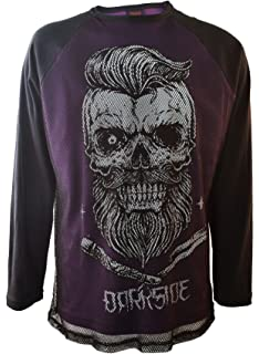 fbff89c54 Bearded Skull Purple Mens Mesh Long Sleeve Genuine Darkside Gothic Top One  Size 44-46inch