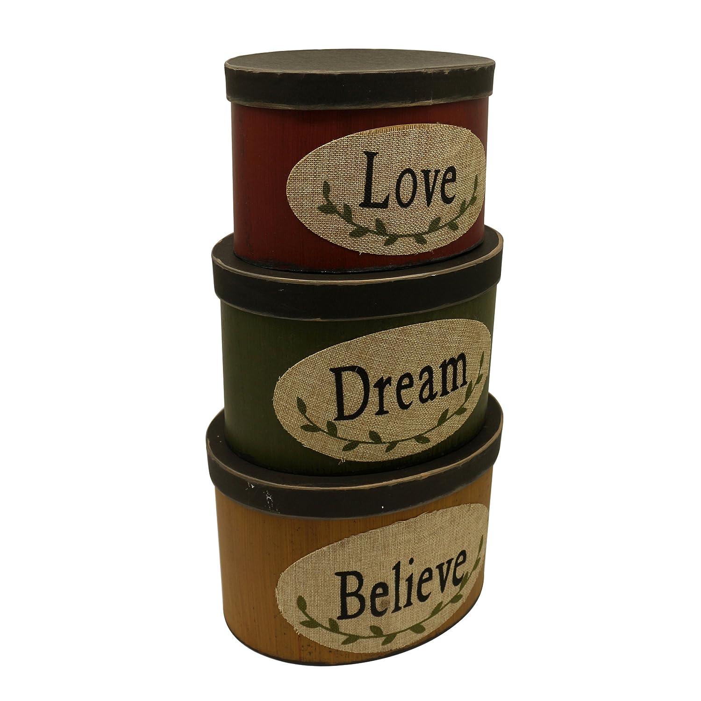 Juego de 3 cajas de cartón ovaladas para nido con texto en inglés «Love Dream Believe Collectibles», tamaño grande, 25,4 x 20,3 x 17,8 cm: Amazon.es: Hogar