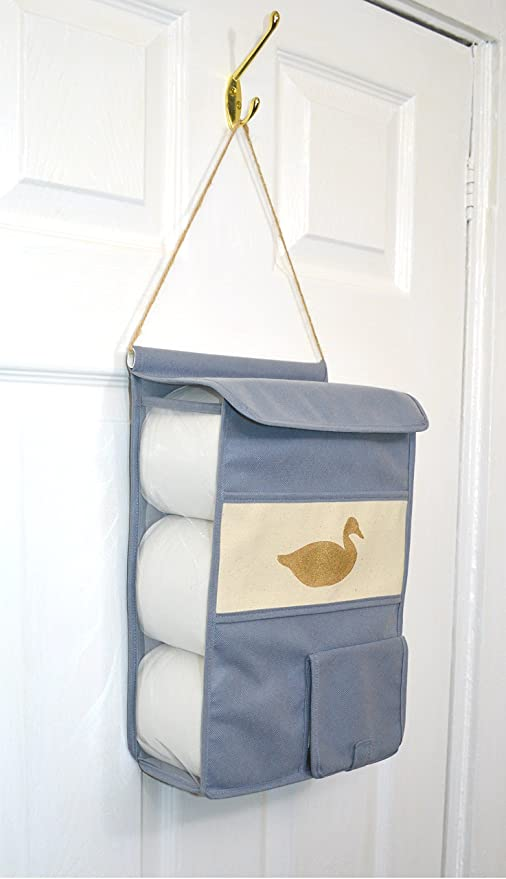 Rollie Holdies Hanging Toilet Roll Holder Toilet Roll Storage Dispenser  Hand Stenciled