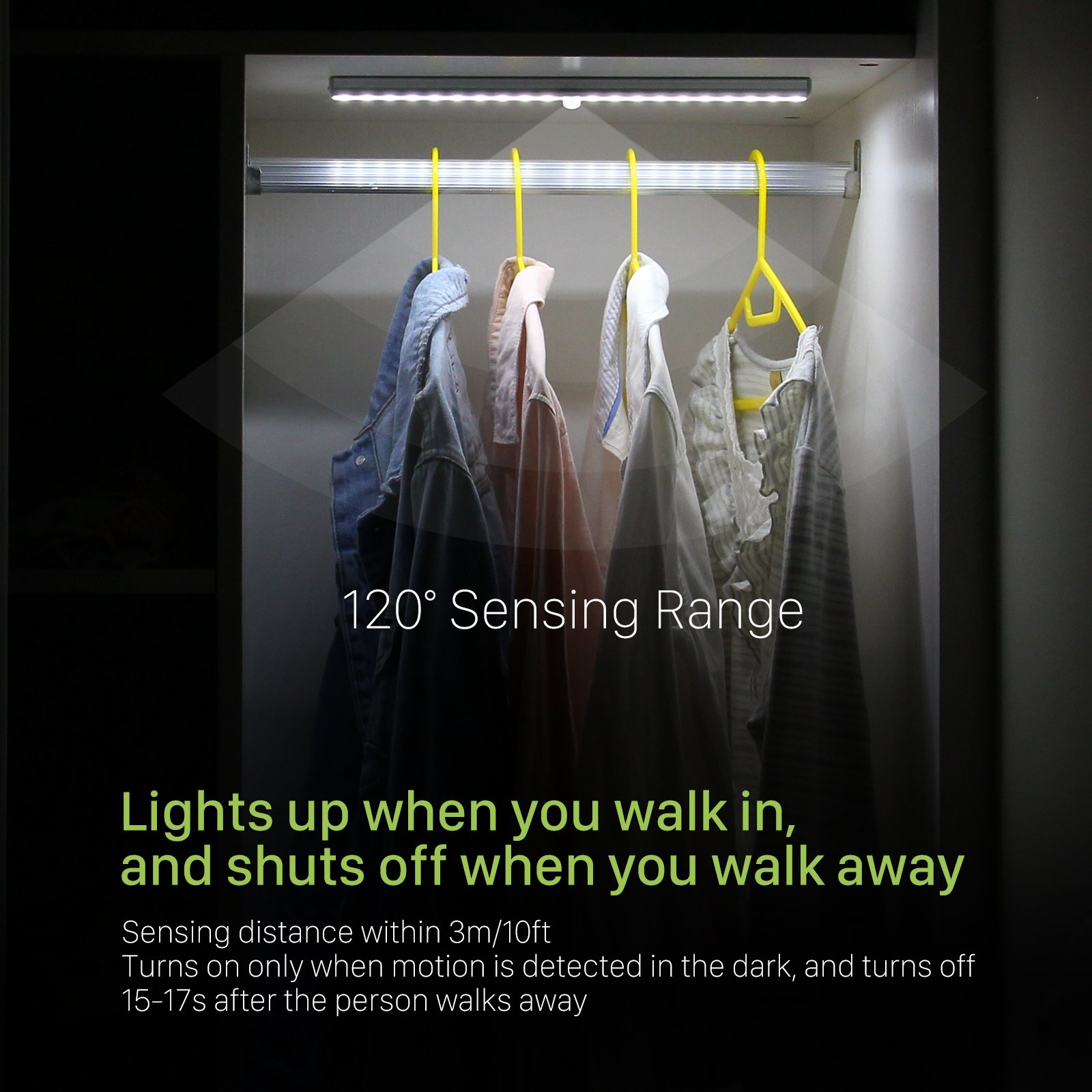 OxyLED Motion Sensor Closet Lights, Wardrobe Light USB Rechargeable Under Cabinet Lightening, Stick-on Cordless 20 LED Night Light Emergency light, Safe Lights with Magnetic Strip, 1 Pack, T-02S by OxyLED (Image #2)
