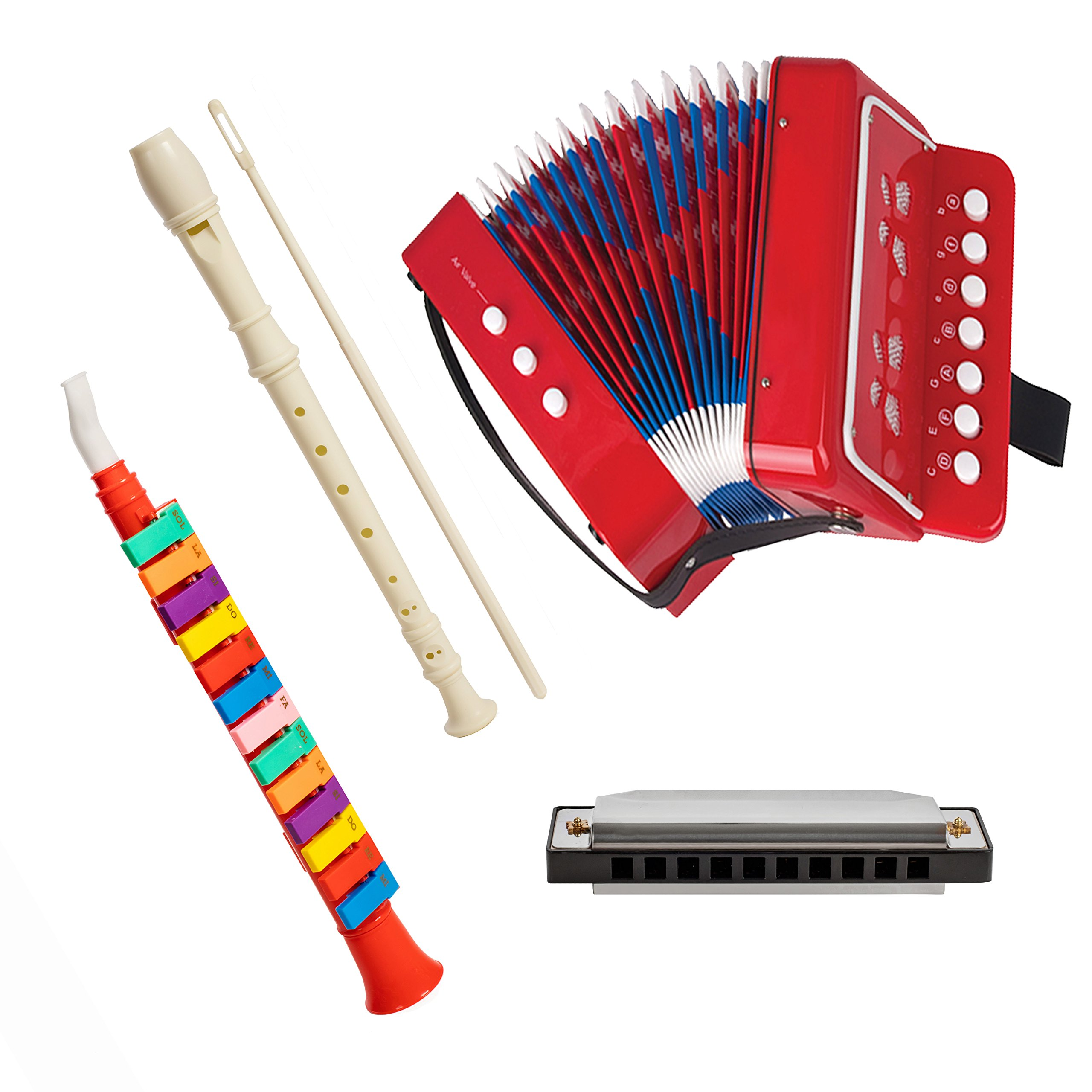 Set Of 4 Combo Music Piano Horn, Soprano Descant Recorder 8-Hole, Kid's Accordion, and Harmonica by First Note USA