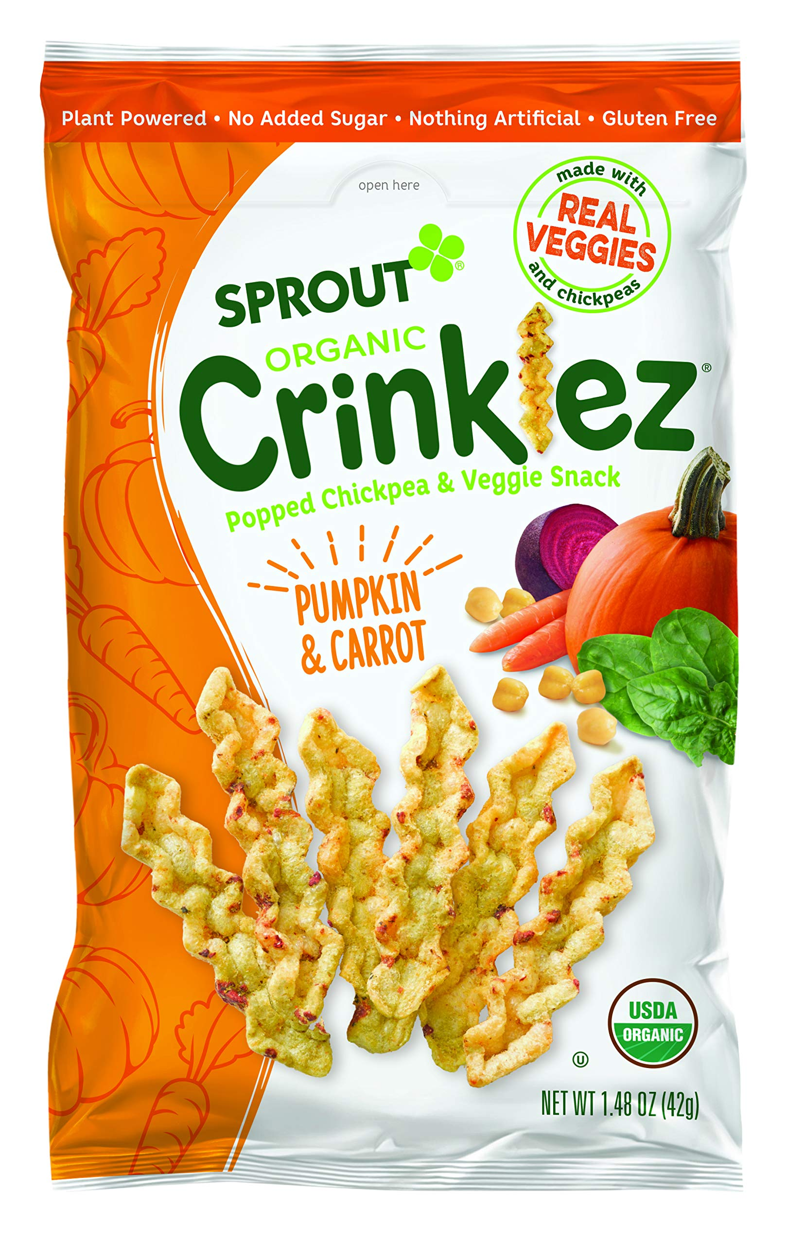 Sprout Organic Baby Food Toddler Popped Veggie Snacks Crinklez, Pumpkin Carrot, 1.48 Ounce Bag (Pack of 1)