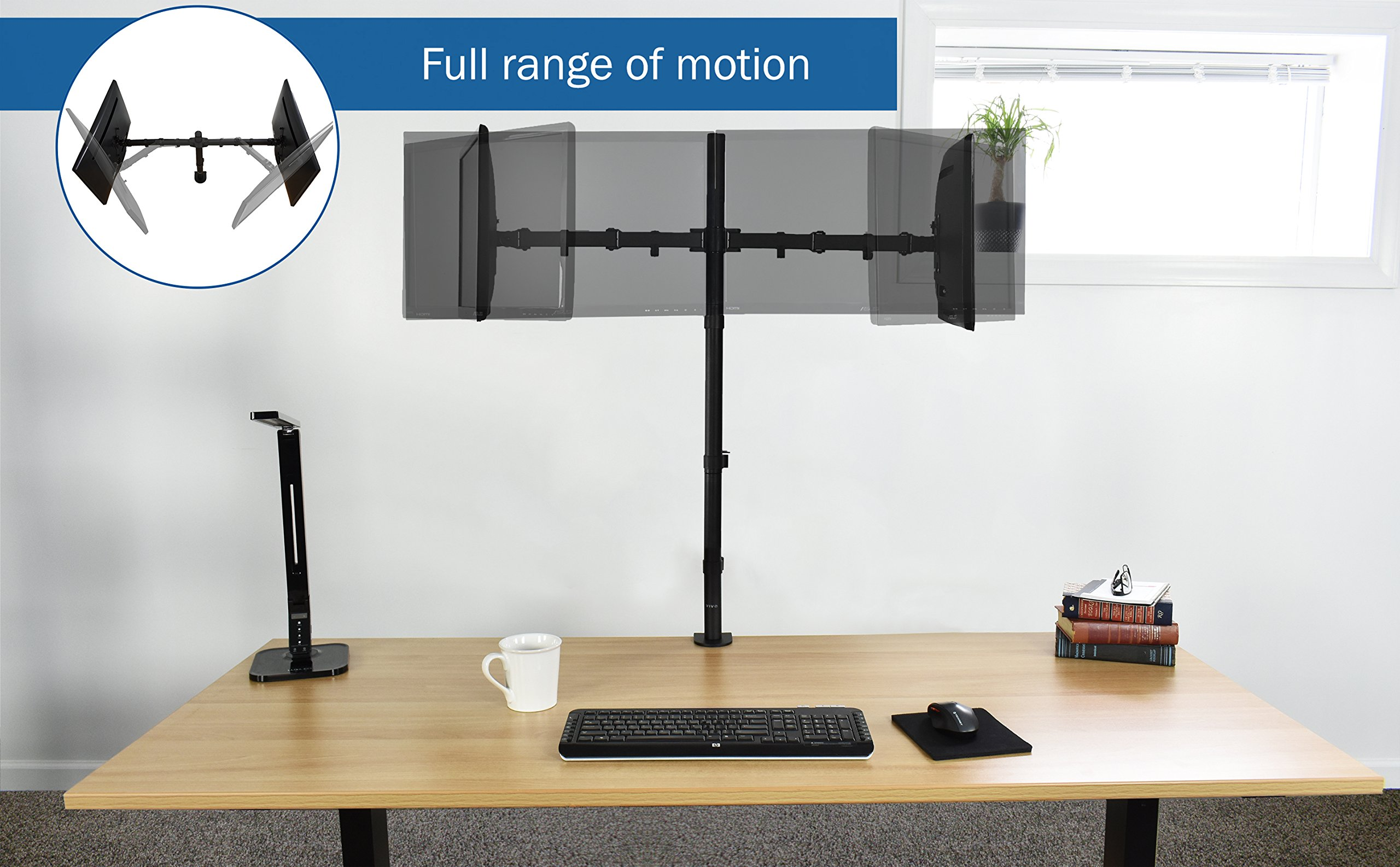 VIVO Dual Monitor Stand Up Desk Mount Extra Tall 39'' Pole / Fully Adjustable Stand for up to 27'' Screens (STAND-V012)
