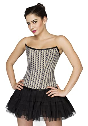4a8b56c0c03 Check Polyester Gothic Burlesque Overbust Costume Black Satin Skirt Corset  Dress  Amazon.co.uk  Clothing