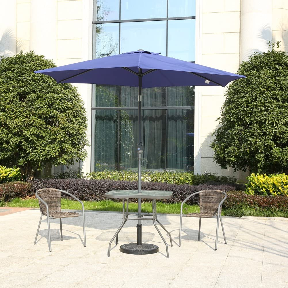 MYAL Patio Outdoor 9ft Market Umbrella with Push Button Tilt and Crank Blue