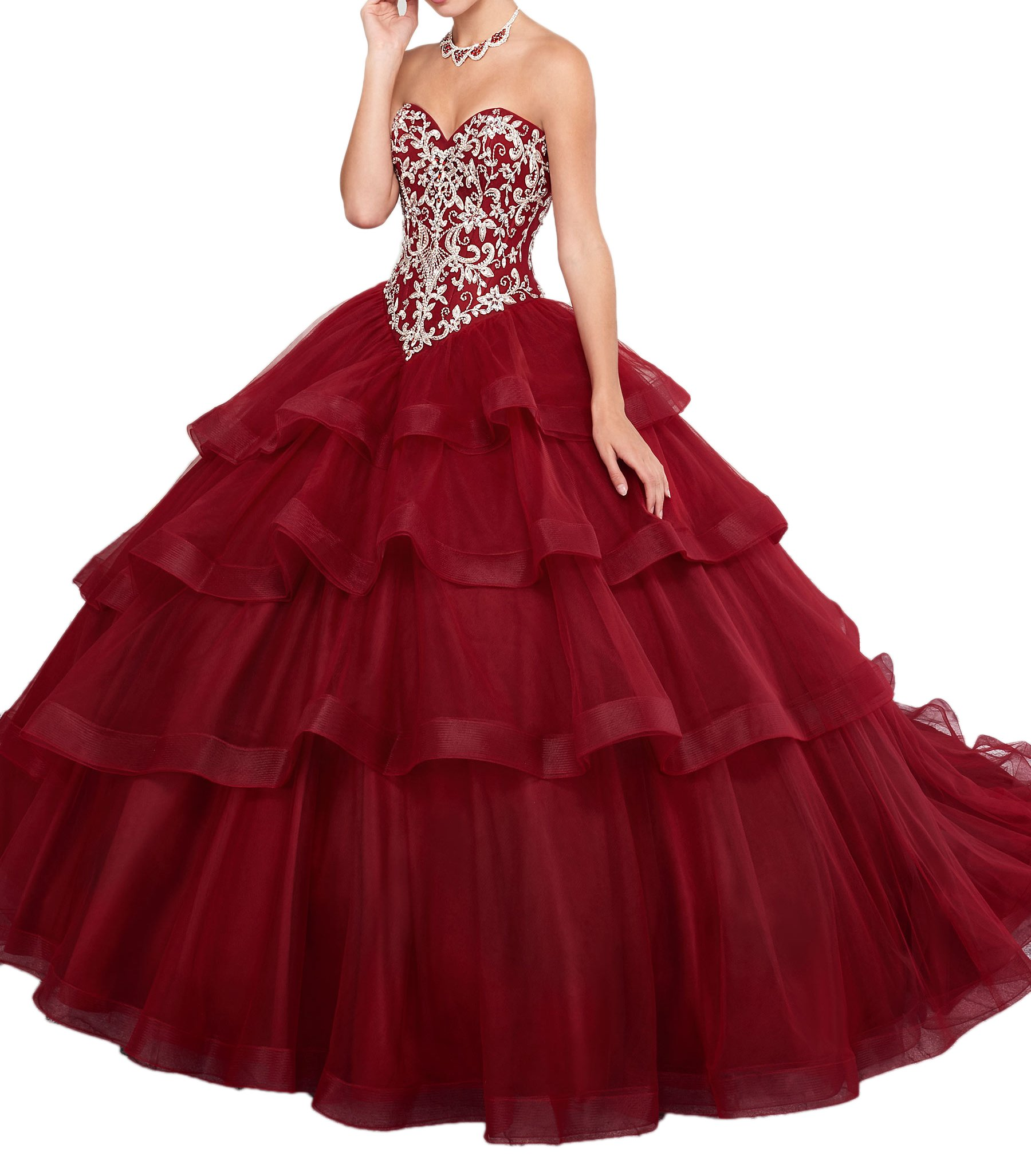 Beilite Women's Sweetheart Sequins Tulle Long Prom Quinceanera Dresses Dark Red 4