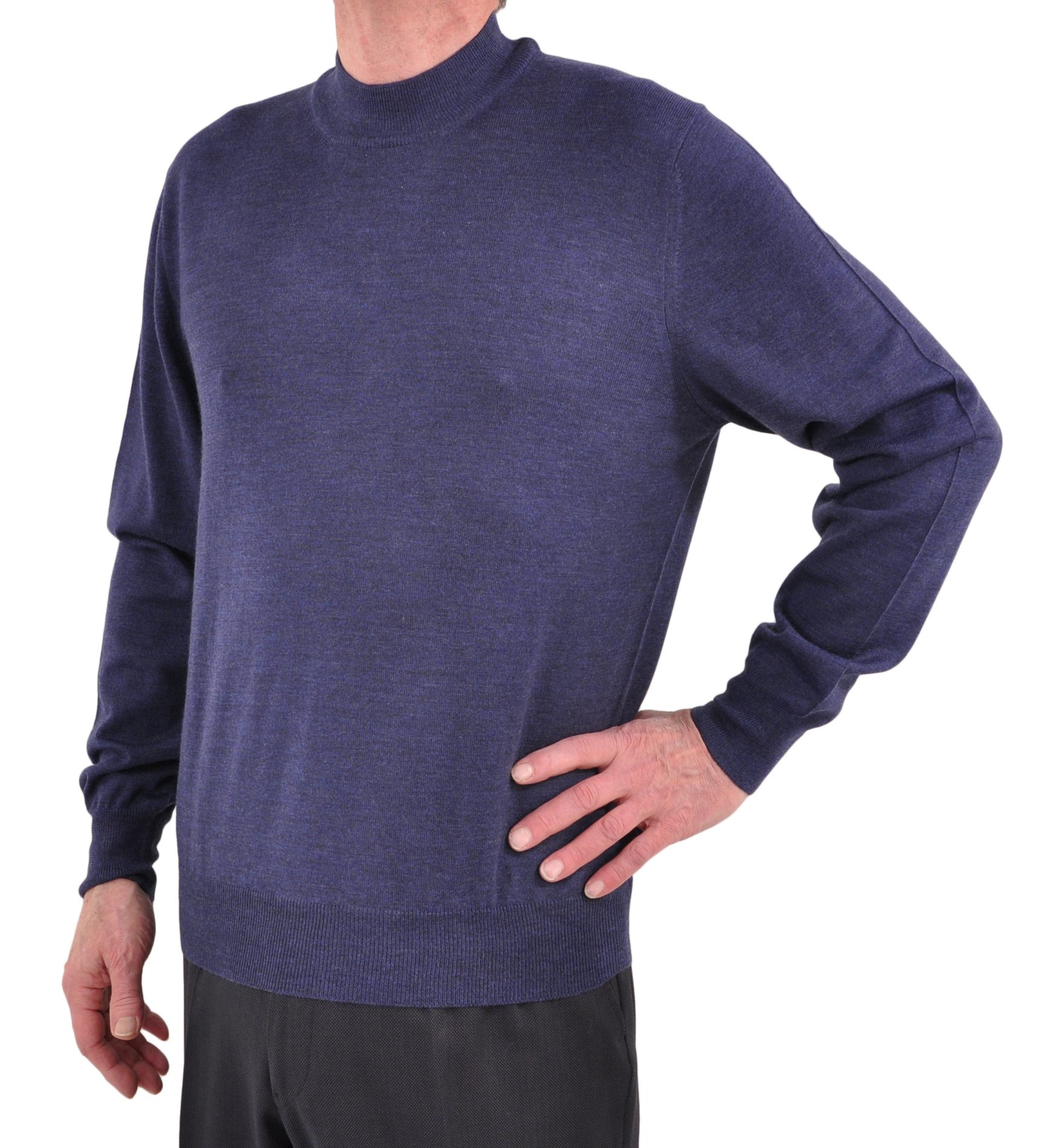 Gran Sasso Extrafine Merino Wool Mock Turtleneck Sweater Medium/Postman Blue by GranSasso (Image #1)