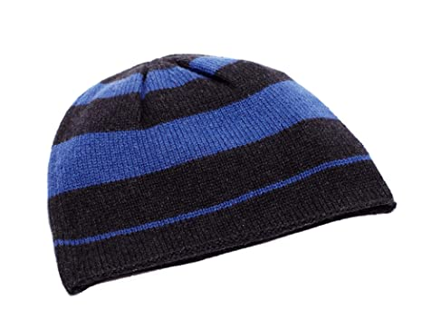 e637770a99308e Invisible World Women's Men's 100% Cashmere Beanie Striped Knit Cap Blue