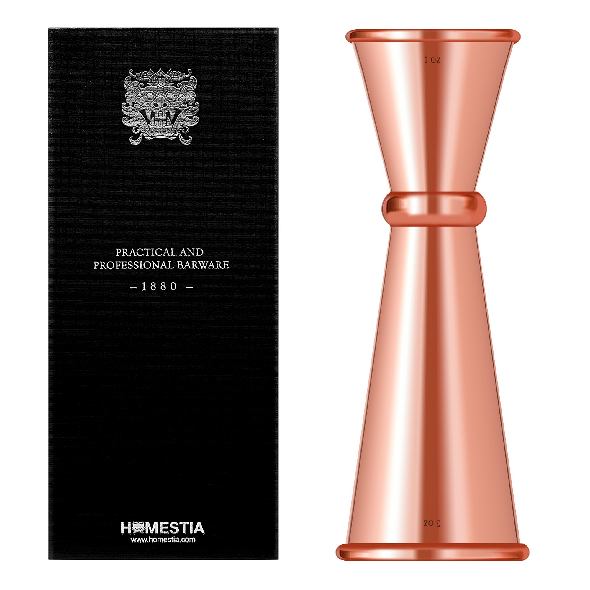 Copper Double Cocktail Jigger Japanese Style Stainless Steel Bar Measuring Jigger 1 & 2 oz by Homestia