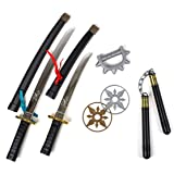 "23"" 8 Piece Ninja Set - Ninja Warrior Play Set - Halloween Dress up Accessories - Weapon Replicas - Safe Plastic Weapons"