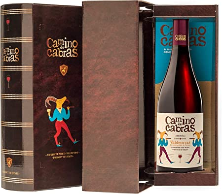 CAMINO DE CABRAS Estuche de vino - Mencía - vino tinto Crianza – Valdeorras – Producto Gourmet - Vino bueno para regalar - 1 botella x 75cl