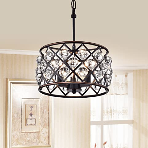 Azha small 3 light crystal drum pendant chandelier oil rubbed azha small 3 light crystal drum pendant chandelier oil rubbed bronze mozeypictures Choice Image