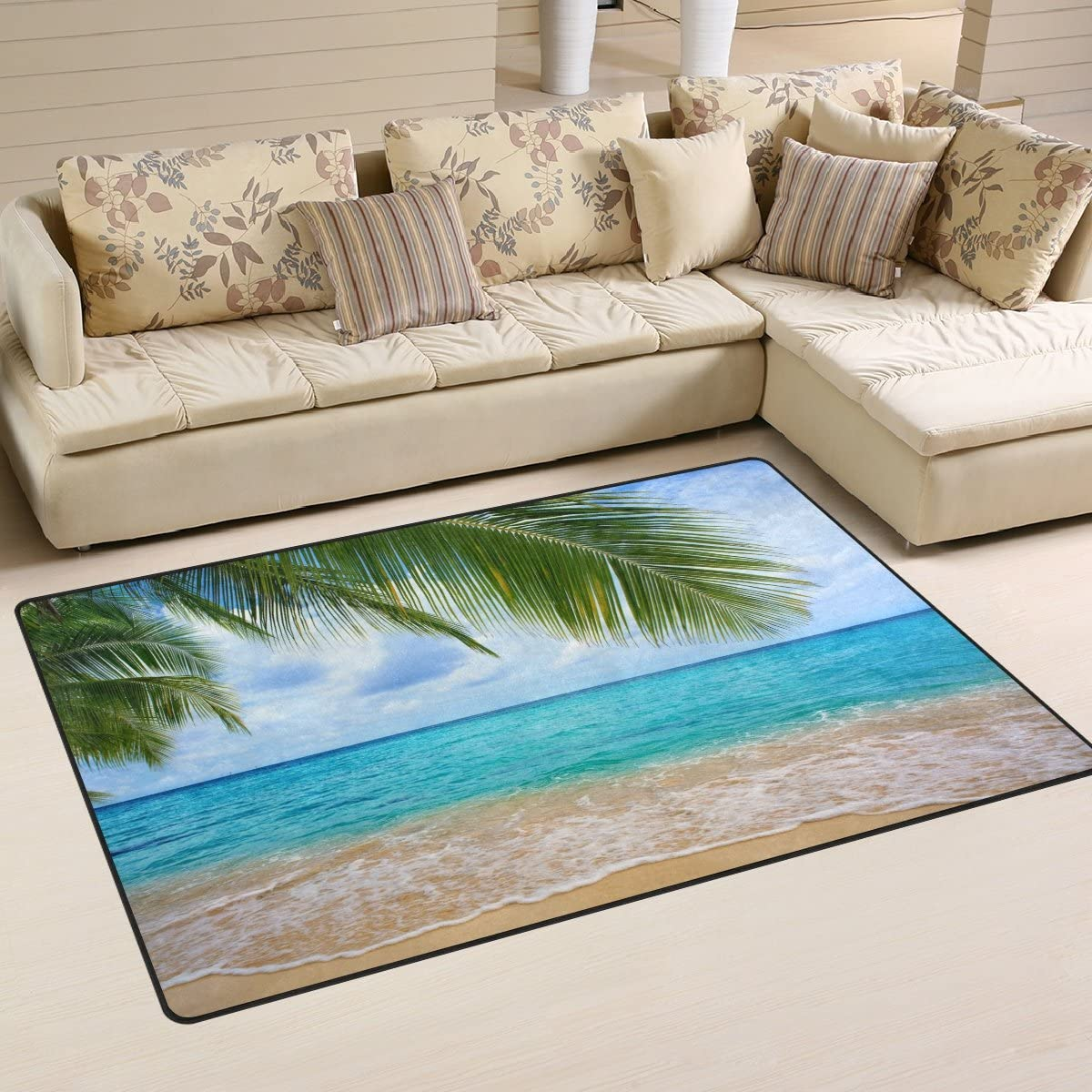 WOZO Summer Palm Leaf Sea Wave Blue Sky Area Rug Rugs Non-Slip Floor Mat Doormats Living Dining Room Bedroom Dorm 60 x 39 inches inches Home Decor