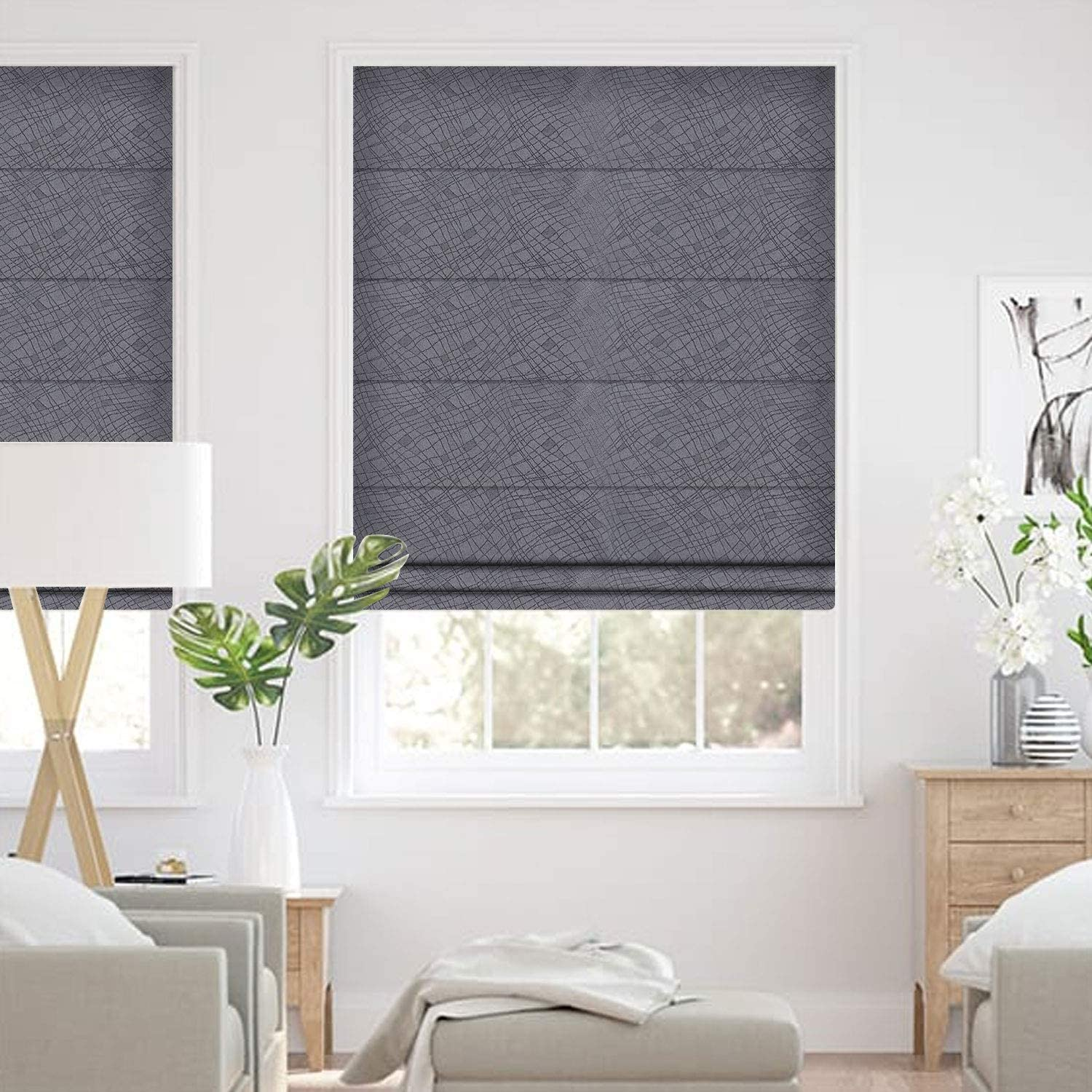 Amazon Com Allbright Striped Jacquard Thermal Insulated Uv Protection Blackout Roman Shades For Windows 23 X 83 Inches Dark Grey Clove Home Kitchen
