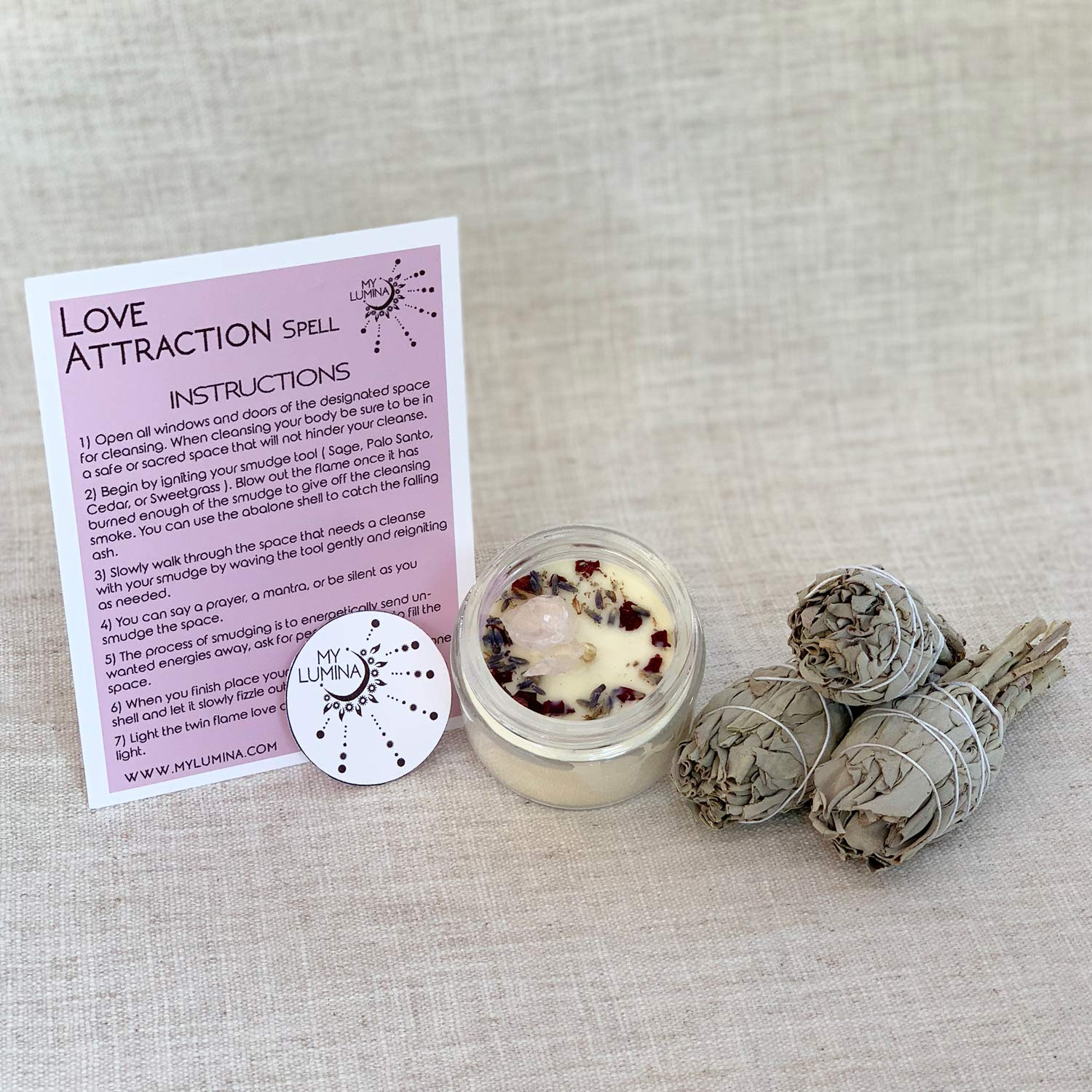 Love Cleanse Spell KIT - Smudging Chakra Balancing, White Sage and Candle  Love Attraction, Love Purifying Set, Attracts Love, Romance, Dating and