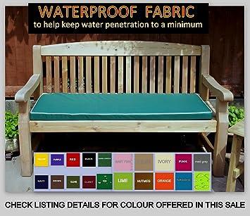Merveilleux Zippy Waterproof 3 Seater Bench Cushion   DARK GREEN With Beige Piping    Size 135 X