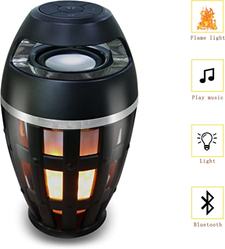 Bluetooth Speaker,SIGERUITE Led Flame Lamp Wireless Bluetooth Speaker USB Charging with Atmosphere Warm Light for iPhone iPad Android,Dancing Flicker Flame Camping Lamp Portable Wireless