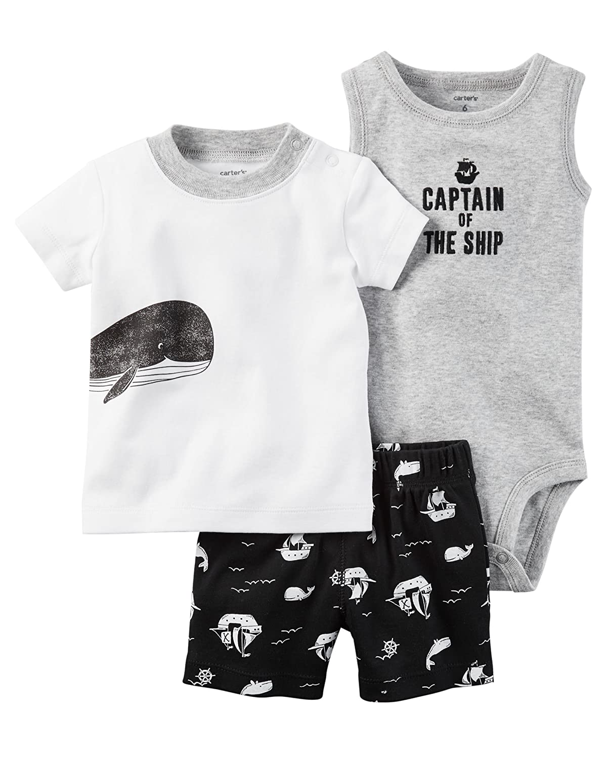 Carters Striped Diaper Cover Set Captain of the Ship Baby Newborn