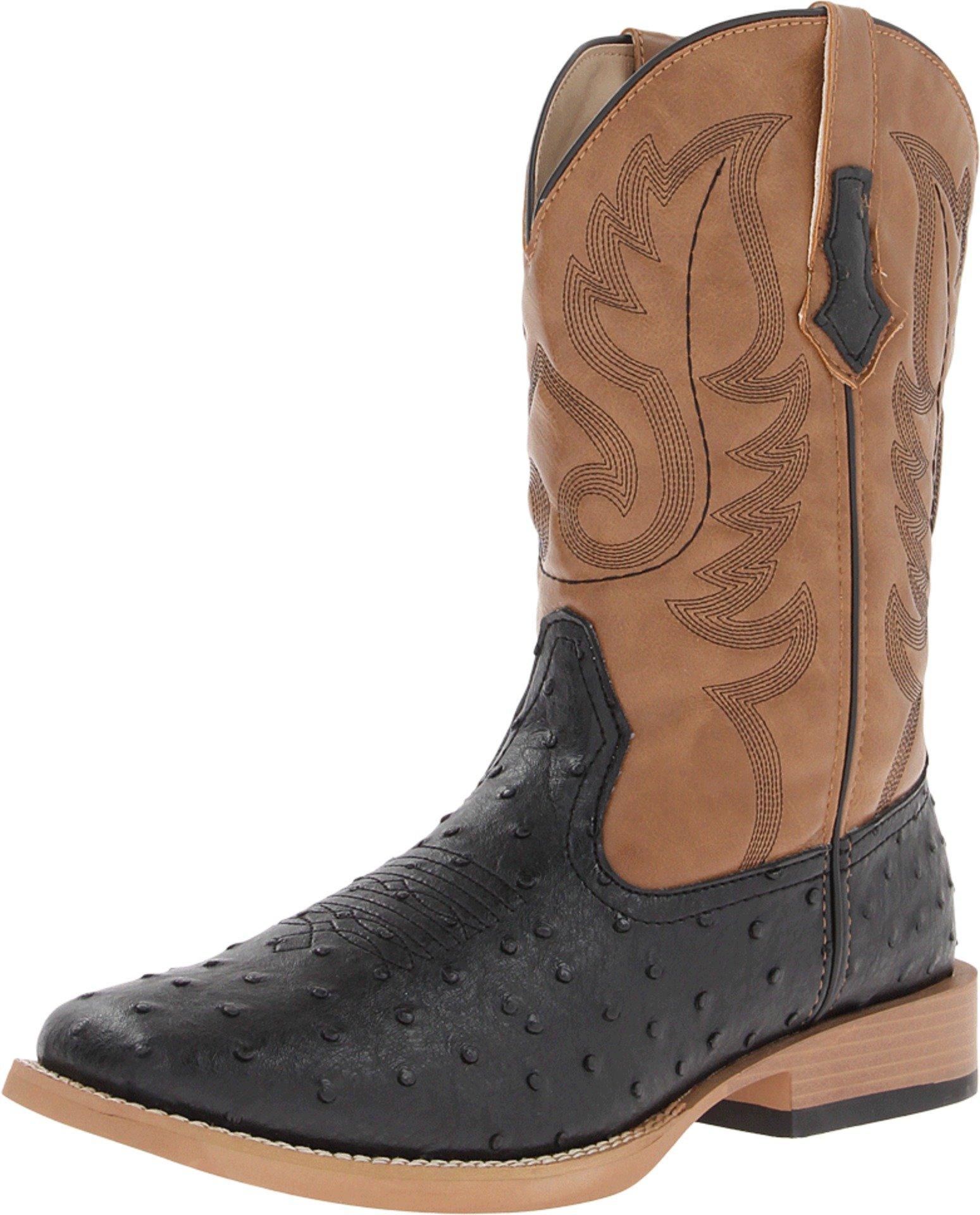 Roper Men's Ostrich Print Square Toe Cowboy Boot Black Faux Leather/Western Stitch 8.5 D - Medium
