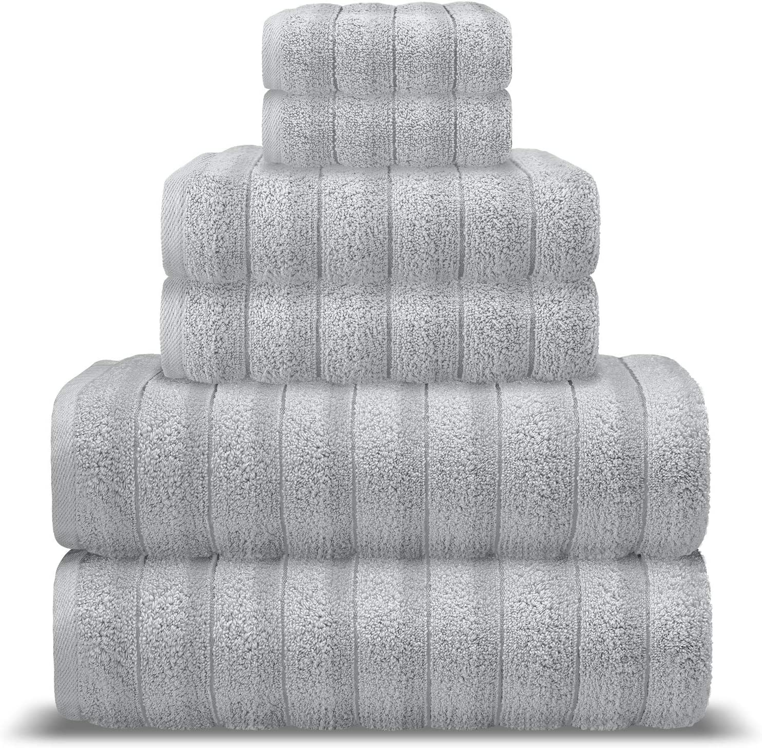 AROW9 Luxury Bath Towel Set 6 Piece 100% Turkish Cotton for Home Guest Bathroom & Spa - Premium Quality Soft & Absorbent - Hand, Wash & Bath Towels, Jacquard, Piles of Plush'' Design - Silver Gray
