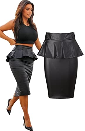 AS Fashion Womens Wet Look Peplum Midi Knee Length Pencil Skirt ...