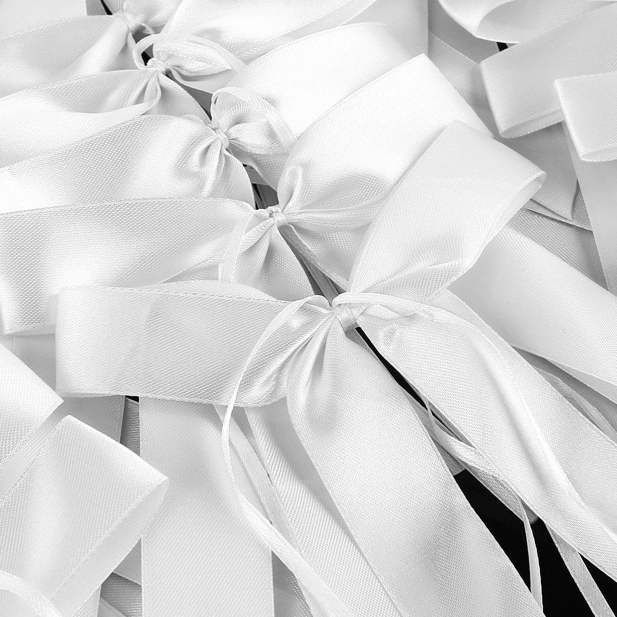 JZK® 50 x Bianco coccarde fiocco nodo raso con nastro stoffa, 13,5 x 21 cm, 2,6 cm largo, decorazioni per bomboniere auto matrimonio battesimo comunione nascita Natale regalo fiori fiorista, fiocchi con nastri bianche ebuybox®