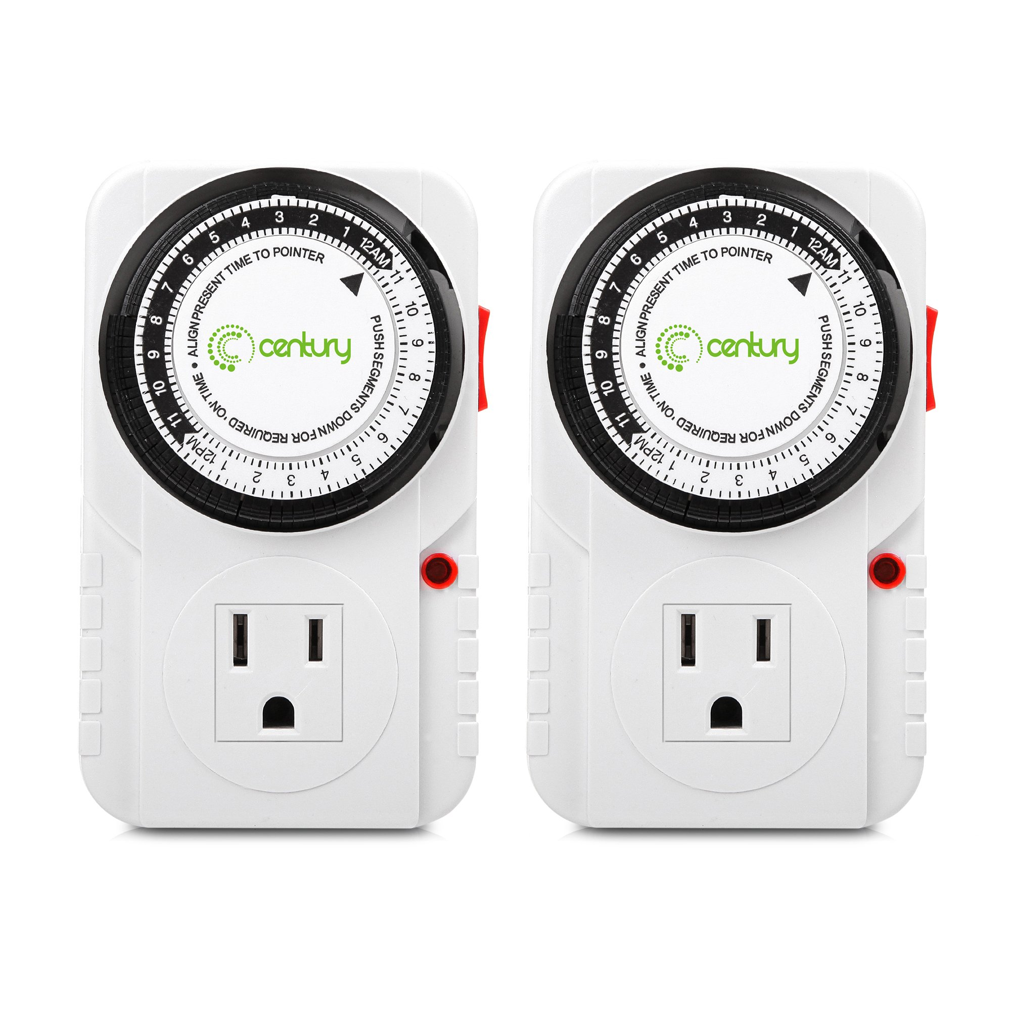 Century 24 Hour Plug-in Mechanical Timer Grounded 2 Pack