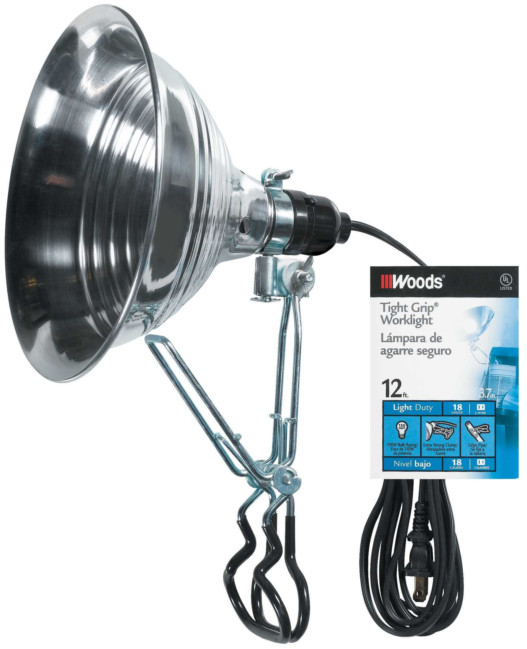 Woods 2839 18/2 Gauge SPT-2 Tight Grip 150-Watt Clamp Lamp with 8.5-Inch Reflector, 12-Foot by Woods