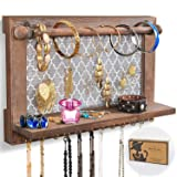 ASHLEYRIVER Wall Mounted Rustic Wood Jewelry