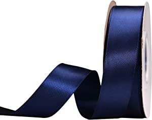 YAMA Double Face Satin Ribbon - 1 Inch 25 Yards for Gift Package Wrapping,Floral Design,Hair Bow Clip Making,Crafting,Sewing,Wedding Decor, Navy