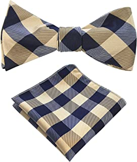 JEMYGINS Mens Plaid Bowtie Self Bow Tie & Pocket Square Set (36)